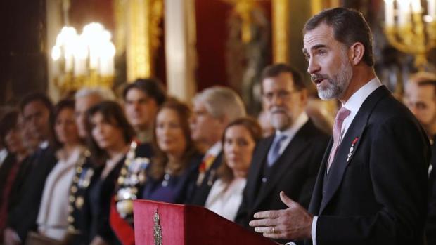 El Rey Felipe, durante su intervención en la tradicional recepción al cuerpo diplomático acreditado la semana pasada
