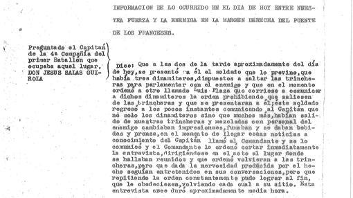 Transcripción del interrogatorio al capitán republicano Salas Lirola por el acto de confraternización en la Casa de Campo