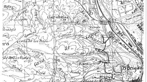 Mapa de la 6ª División republicana sobre posiciones en la Casa de Campo