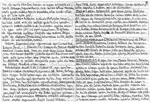 Un documento de los papeles de Susper que recogía las autocríticas de los etarras tras ser detenidos, conocidas como «kantadas»