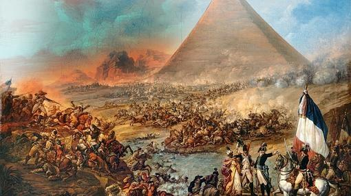 Óleo sobre la batalla entre las tropas de Napoleón y las fuerzas mamelucas en 1798.