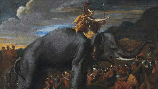 Aníbal representado sobre su elefante durante su travesía por los Alpes