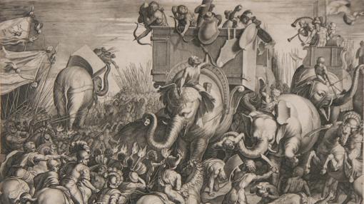 La batalla de Zama. Ilustración de Cornelis Cort (1567)