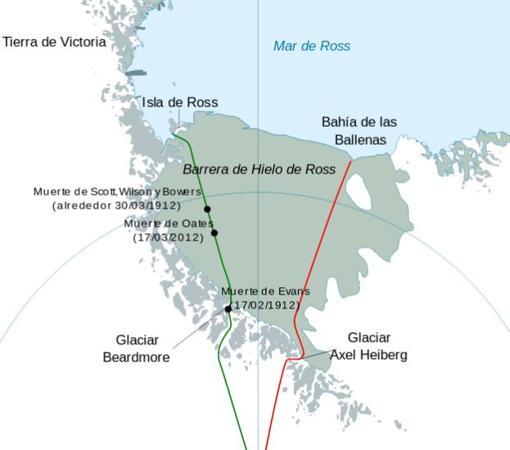 Las rutas seguidas por Scott (verde) y Amundsen (rojo)