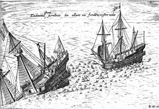 Ilustración de 1603 que refleja el hundimiento del galeón San Diego en el año 1600