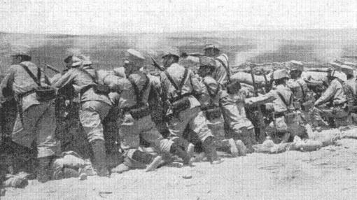 Infantería española haciendo fuego en 1909