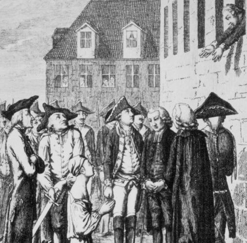 Ilustración de la ejecución de Von Katte, con Federico asomado a la ventana de su celda