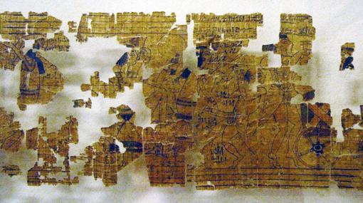 Fragmentos del papiro expuestos en el Museo de Egipcio de Turín