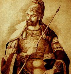 Retrato idealizado del emperador Constantino XI, realizado en el siglo XIX.