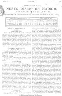 Edición original del «Nuevo Diario de Madrid» del 24 de julio de 1821