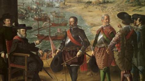 Representa a don Fernando Girón, gobernador de Cádiz, dando instrucciones a sus subordinados para organizar la defensa de la ciudad de Cádiz, en 1625