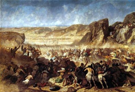 Cuadro moderno de la batalla de Cunaxa, cerca de Babilonia