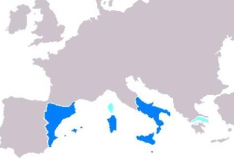 La Corona de Aragón en su máxima extensión.