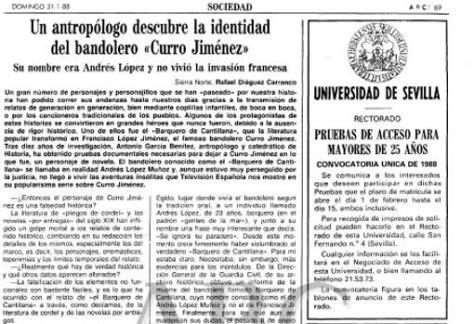 Artículo original de ABC sobre Curro Jiménez