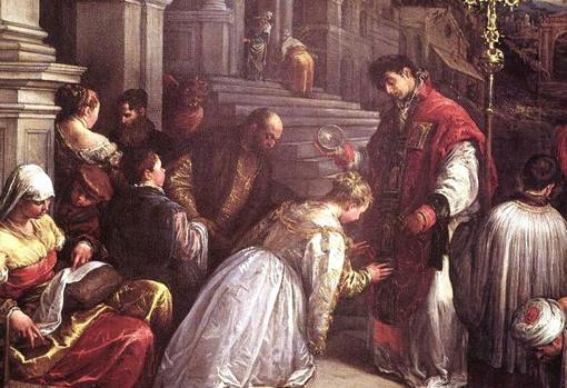 San Valentín, oficiando una ceremonia