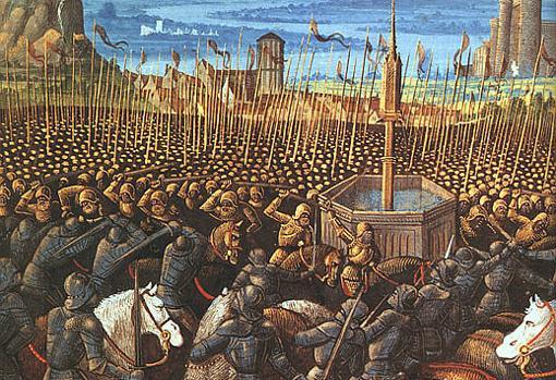 Batalla de los Cuernos de Hattin, en 1187. En ella los Templarios tuvieron un papel clave