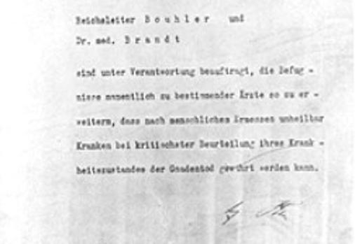 La autorización de Adolf Hitler para el programa de Eutanasia (Operación T4), firmada en octubre de 1939, pero fechada el 1 de septiembre de 1939