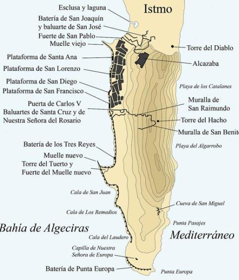 Mapa de las defensas de Gibraltar