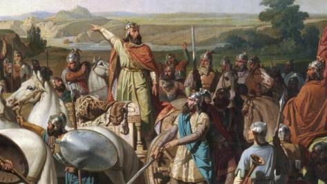 Don Rodrigo arengando a sus tropas en la batalla de Guadalete