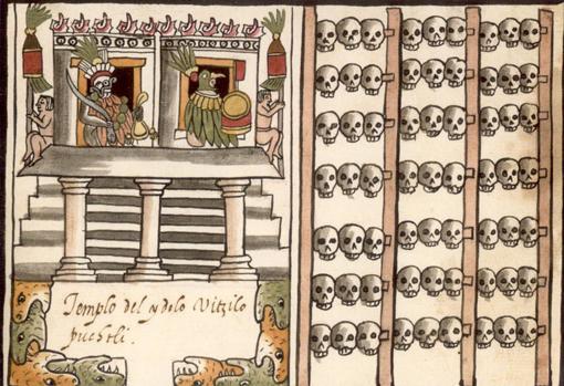 Un tzompantli ilustrado a la derecha de una representación del templo azteca en Tenochtitlan dedicado a la deidad Huitzilopochtli, del manuscrito de 1587, el Codex Tovar