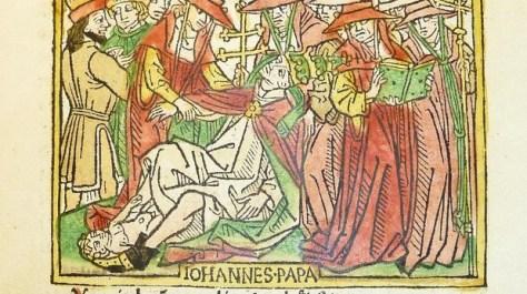 Fresco de la época que representa a la Papisa Juana