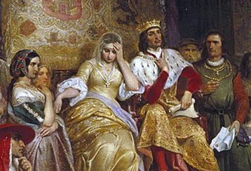 Los Reyes Católicos según un cuadro de Emanuel Gottlieb Leutze