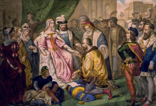 Cristóbal Colón ante los Reyes Católicos en la corte de Barcelona (V. Turgis, siglo xix)