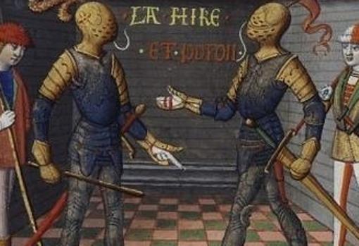 """Dos de los oficiales franceses (uno de ellos, """"La Hire"""")"""