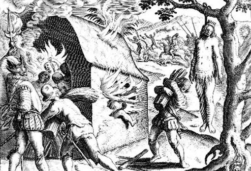 El libro de la «Brevísima» fue ilustrado por grabados por Théodore de Bry, en las versiones extranjeras