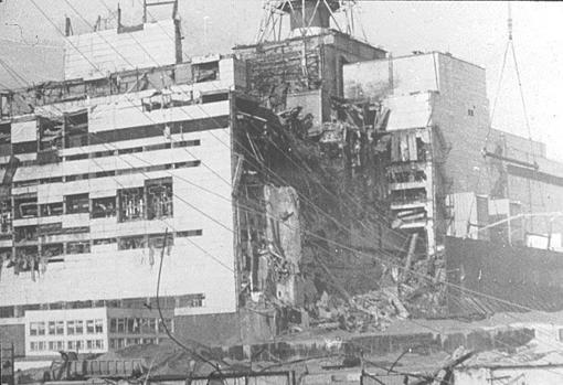 La central nuclear, tras el accidente