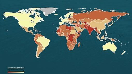 Índice de esclavitud a nivel mundial según la fundación Walk Free