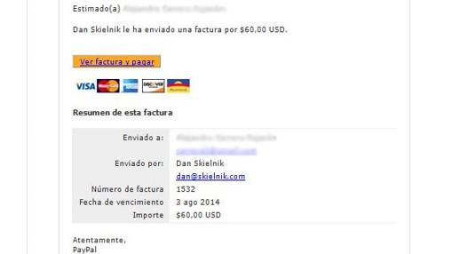 Captura de pantalla de un fraude con un falso proveedor