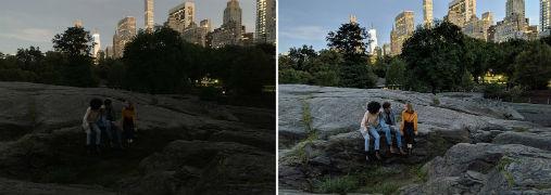 iPhone XS con SmartHDR (izquierda), and Pixel 3 con Night Sight (derecha).