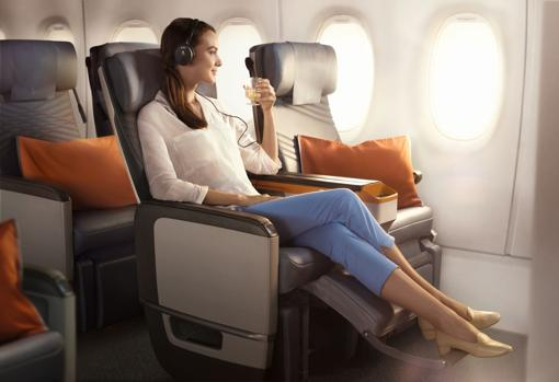 Asiento reclinable en el nuevo Airbus de distancia Ultra Larga