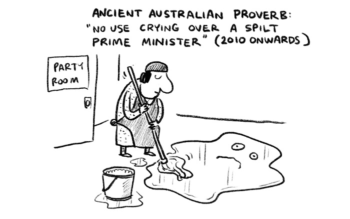 A satirical cartoon showing a cleaner mopping up a spilt prime minister.