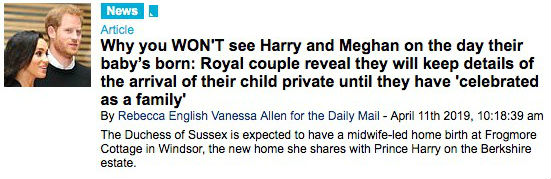 Title on Meghan and Harry that they maintain the private birth