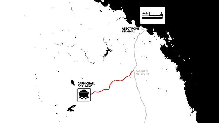 Graphic map showing location of Adani's proposed Carmichael Coal Mine to Abbot Point terminal.