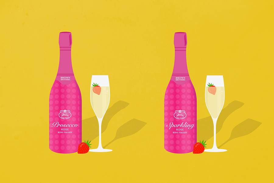An illustration shows two bottles of wine, one labelled Prosecco rose and one called Sparkling rose.