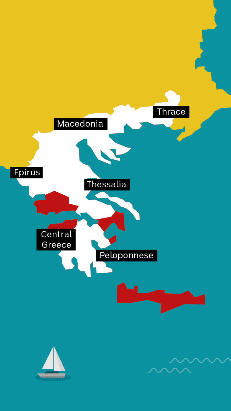 Colourful vector map with Greece highlighted yellow. Feta regions labelled.