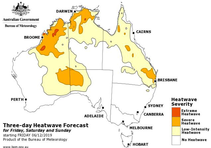 Map of Australia showing where will be affected by a three-day heatwave.
