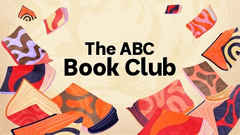 The colourful logo for the ABC Book Club, featuring flying books around text.