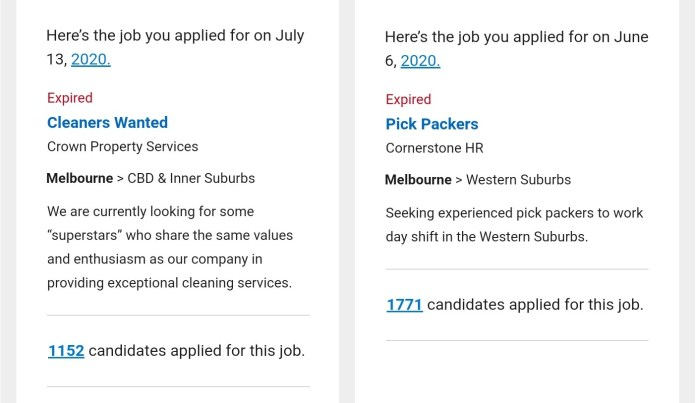 Job application confirmations showing the number of applicants