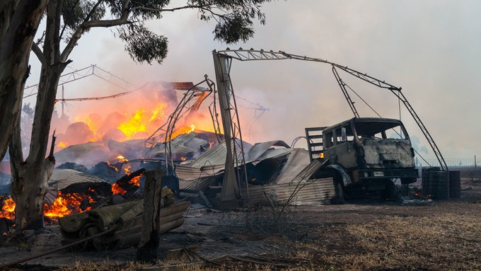A shed burns at the entrance to Freeling in the mid-north of South Australia,