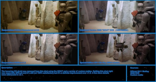 The scene where a droid was removed from the background