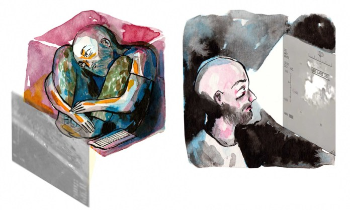 Left: Man curled up in a box with a keyboard next to him. Right: Man looking at a map of Afghanistan.