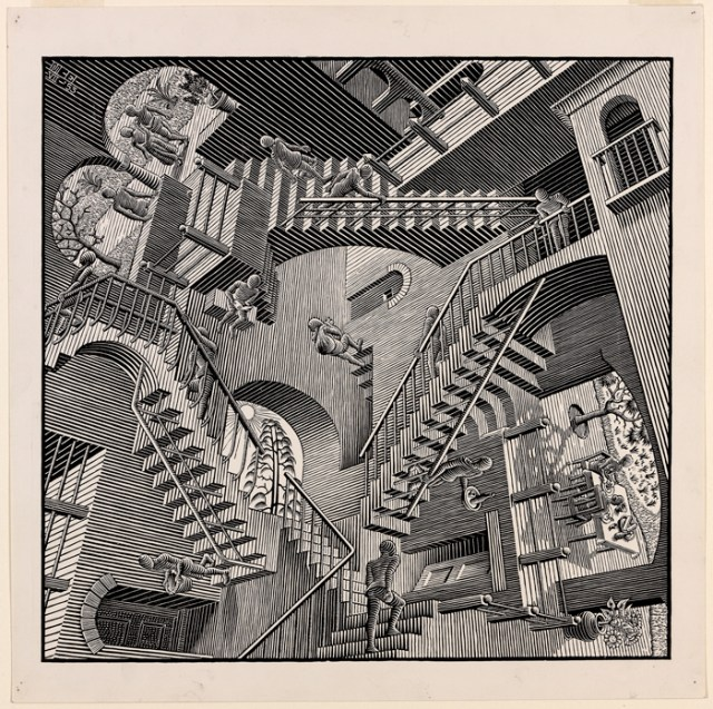 A black and white print, an art work displaying a maze of interlocking staircases rendered from a disorienting perspective.