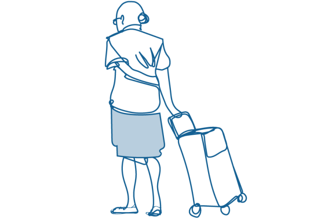 An illustration of an elderly woman pulling a shopping cart behind her.