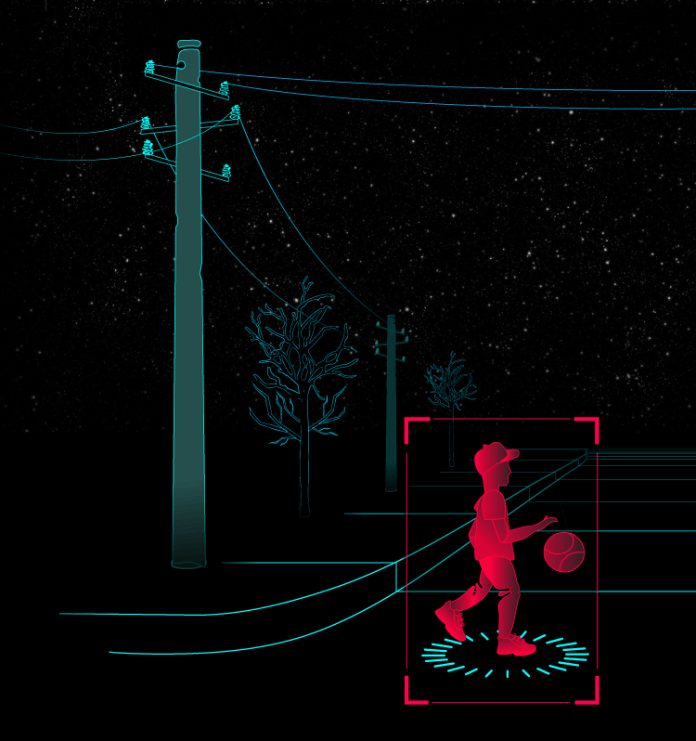 An illustration shows a child walking across a road bouncing a ball, and a dog in the background.