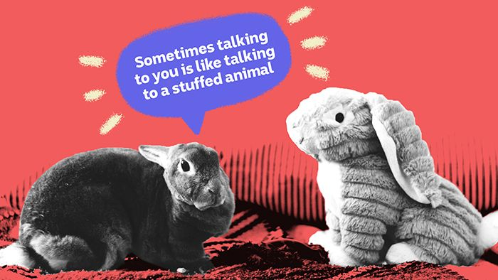 A live rabbit says to a stuffed rabbit, depicting the difficulties of resolving repetative arguments with your romantic partner.