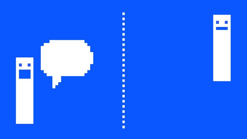 Gif of ping pong video game bars bouncing a conversation bubble between them to depict the art and science of conversations.
